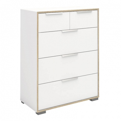 Line Chest of 5 Drawers (2+3) in White and Oak